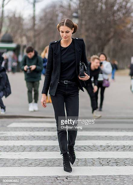Fashion model Nadja Bender outside Chanel during the Paris Fashion Week Haute Couture Spring/Summer 2016 on January 26 2016 in Paris France