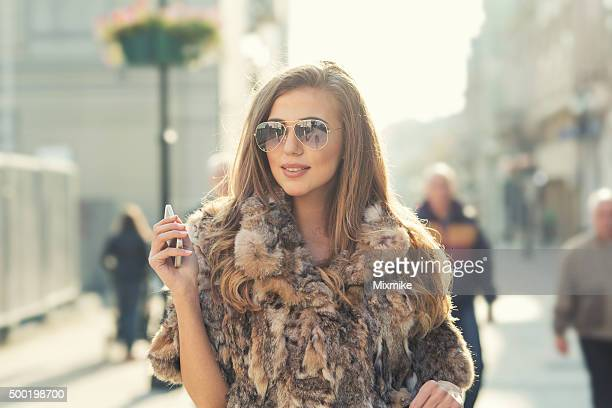 Fashion model on a walk