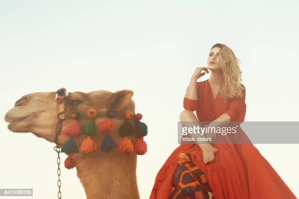fashion model on camel