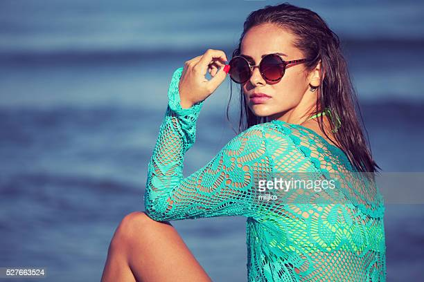 fashion model on the beach - wet see through stock pictures, royalty-free photos & images