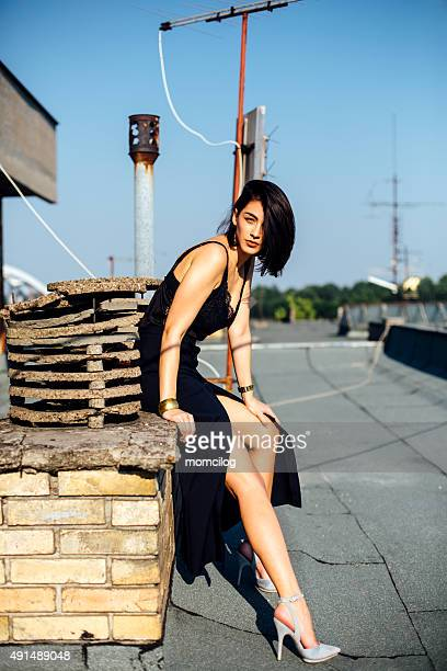 Fashion model on the roof