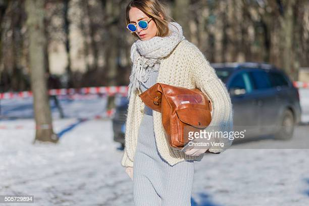 Fashion model Pamina Weià wearing Sabrina Weigt dress and jacket sunglasses Kerbholz outside Lena Hoschek during the MercedesBenz Fashion Week Berlin...