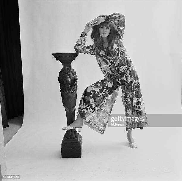 Fashion model Paulene Stone shows a trouser dress by Nettie Vogues and hairstyle by Alexandra 15th March 1967