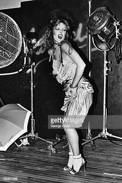 A fashion model performs in a mock fight during a punk fashion show at Fiorucci clothing store in 1979 Beverly Hills California