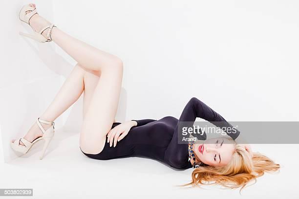 fashion model - beautiful legs in high heels stock-fotos und bilder