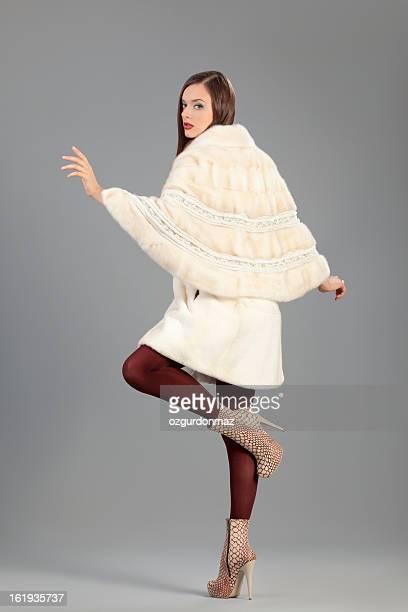 Fashion model posing in fur