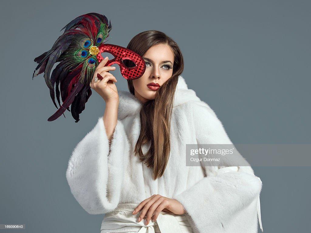 Fashion model posing in fur : Stock Photo
