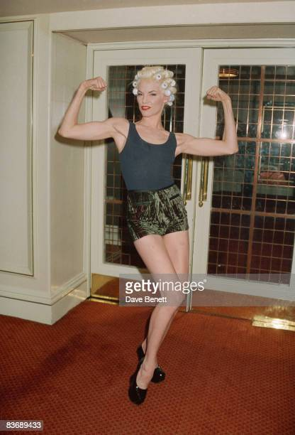 Fashion model Sara Stockbridge at the Save The Rainforest fashion show at the Grosvenor House Hotel in London 5th May 1992