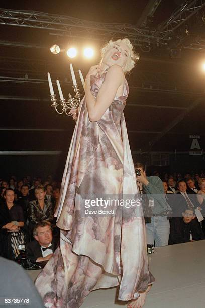 Fashion model Sara Stockbridge wearing Vivienne Westwood's designs at the London Fashion Awards 13th October 1991