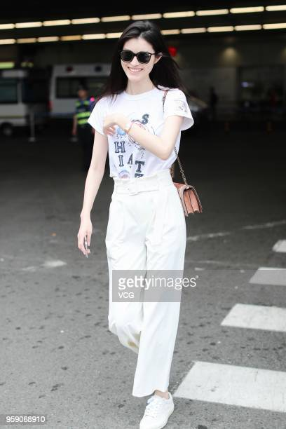 Fashion model Sui He is seen after the 71st Cannes Film Festival at Beijing Capital International Airport on May 15 2018 in Beijing China