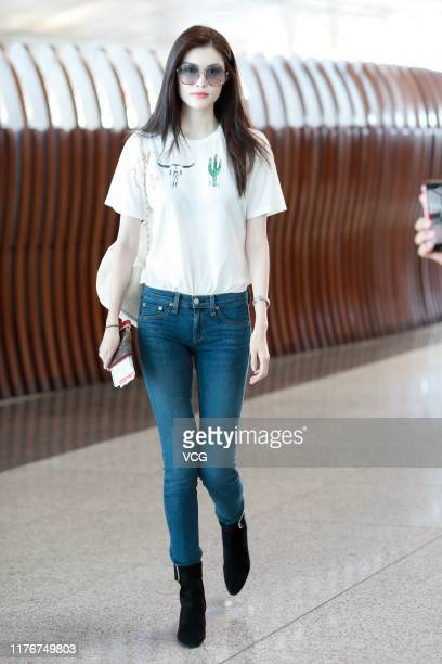 Fashion model Sui He is seen at Beijing Capital International Airport on September 23 2019 in Beijing China