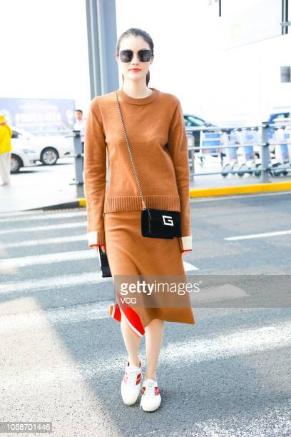 Fashion model Sui He is seen at Shanghai Hongqiao International Airport on October 23 2018 in Shanghai China