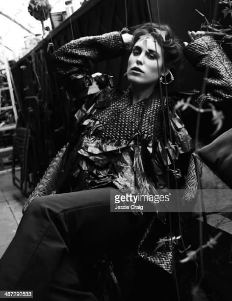 Fashion model Tallulah Harlech wearing Gareth Pugh designs is photographed for Twelv magazine in London, England.