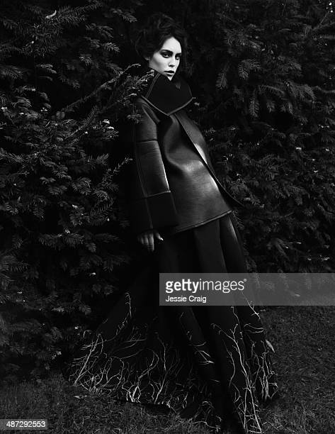 Fashion model Tallulah Harlech wearing Gareth Pugh designs is photographed for Twelv magazine in London England