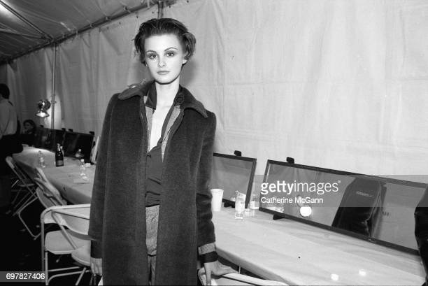Fashion model Trish Goff poses for a portrait backstage at a Todd Oldham fashion show in 1995 in New York City New York