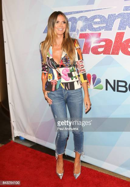 Fashion Model / TV Personality Heidi Klum attends the NBC's America's Got Talent season 12 live show at Dolby Theatre on September 5 2017 in...