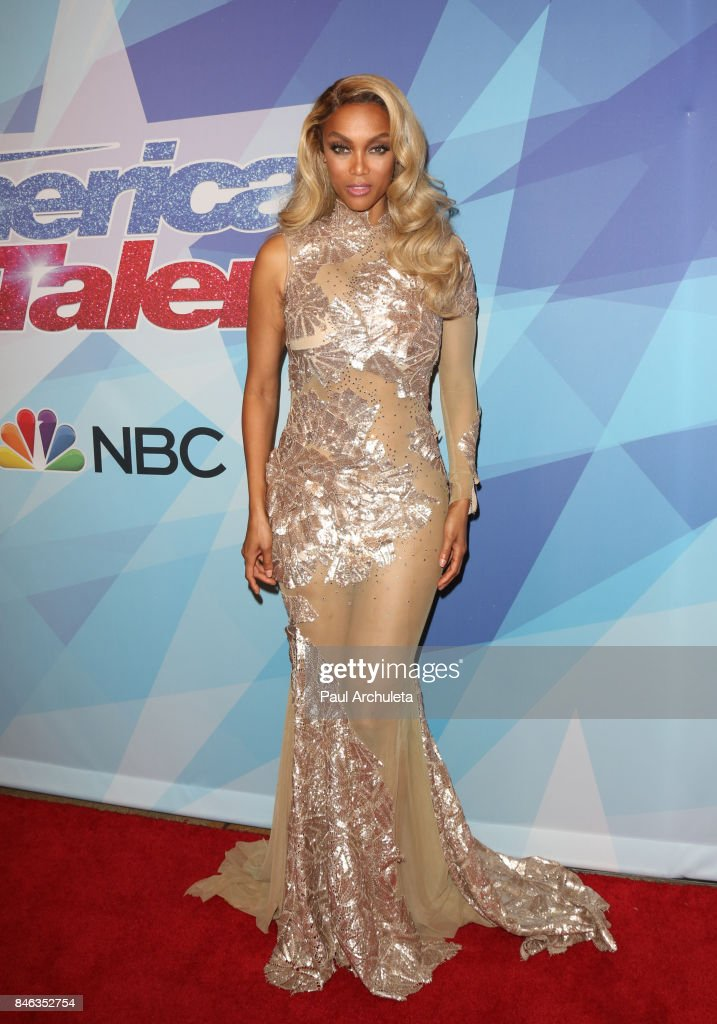 Fashion Model / TV Personality Tyra Banks attends NBC's 'America's Got Talent' season 12 live show at Dolby Theatre on September 12, 2017 in Hollywood, California.