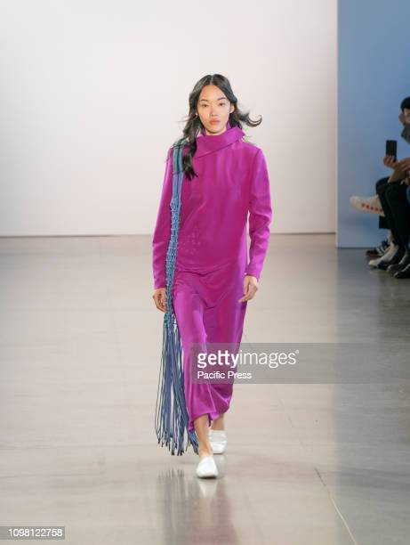 Fashion model walks the runway for Claudia Li collection during Fall/Winter 2019 fashion week at Spring Studios