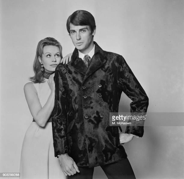 Fashion model wearing Astraka faux pony skin double breasted coat UK 23rd October 1968