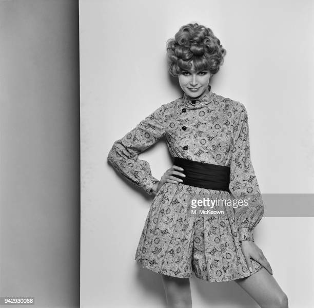 A fashion model wearing Paisley printed culotte dress by British fashion designer Mary Quant UK 8th February 1968