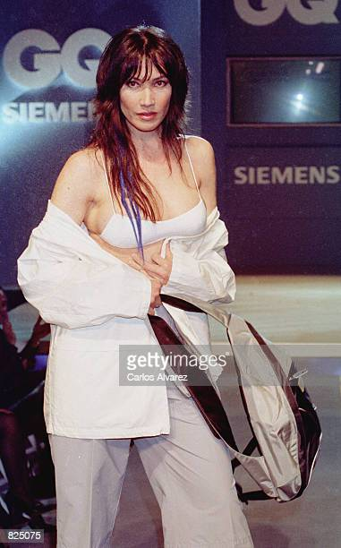 A fashion model wears an outfit from the Camel Active Spring/Summer collection 2001 during the GQ fashion party May 7 2001 in Madrid Spain