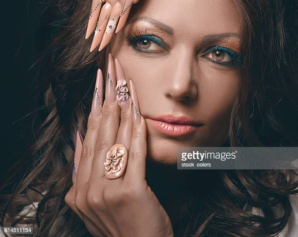 fashion model with manicure - hazel eyes stock pictures, royalty-free photos & images