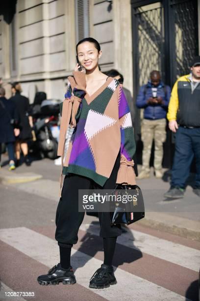 Fashion model Xiao Wen Ju is seen during the Milan Fashion Week Fall/Winter 20202021 on February 22 2020 in Milan Italy