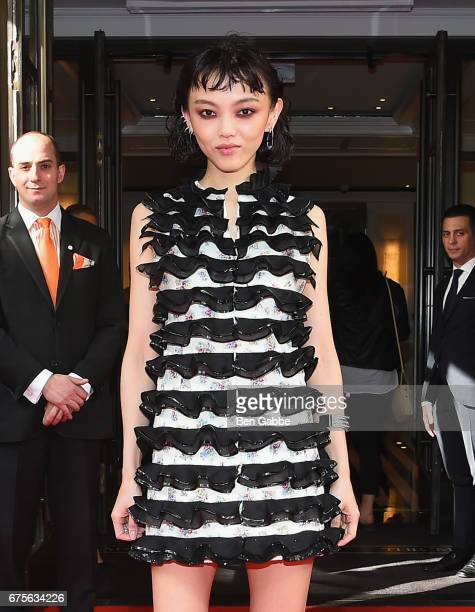 Fashion Model/Actress Rila Fukushima leaves from The Mark Hotel for the 2017 'Rei Kawakubo/Comme des Garçons Art of the InBetween' Met Gala on May 1...