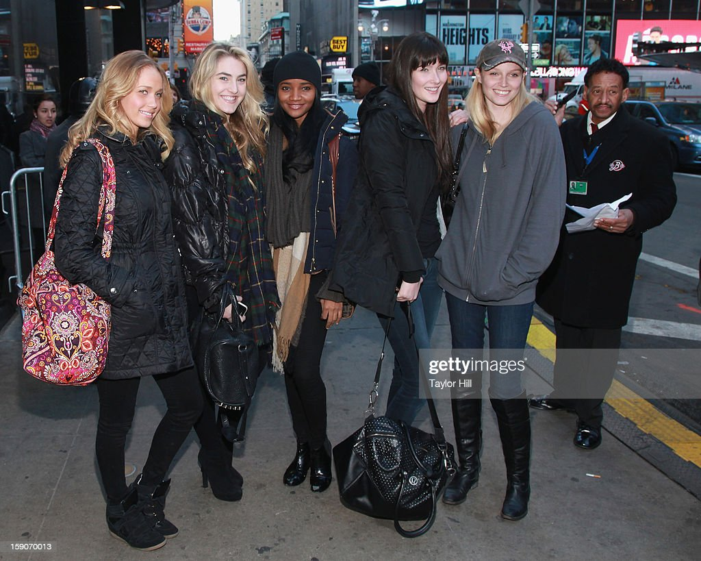 Fashion models depart ABC News' 'Good Morning America' Times Square Studio on January 7, 2013 in New York City.