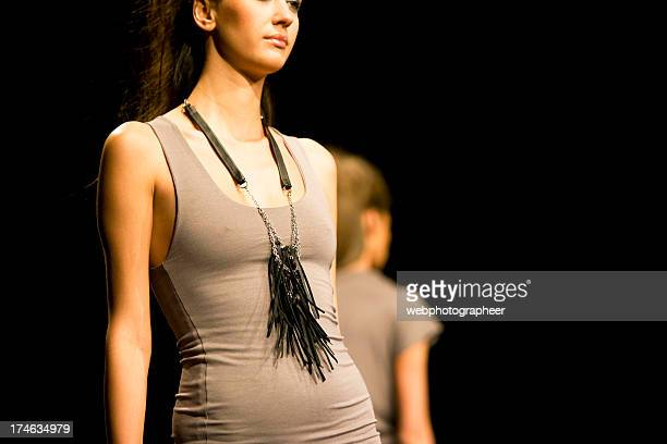 fashion models on catwalk - catwalk stock pictures, royalty-free photos & images
