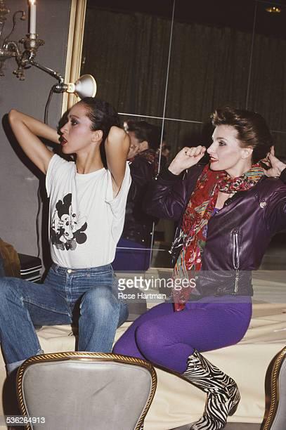 Fashion models Pat Cleveland and Apollonia van Ravenstein April 1983
