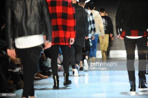 Fashion models present the new Fall/Winter 2018 HIP BONE collection during the Toronto Mens Fashion Week 2018