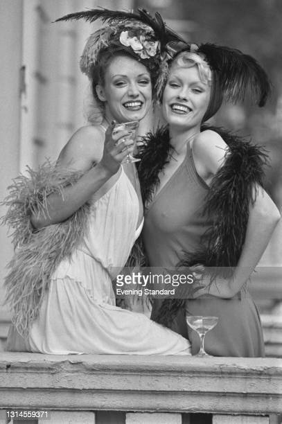 Fashion models Vida and Marissa in 1920s style glamour, UK, 20th September 1973.