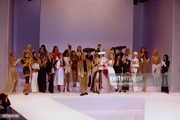 Fashion models wearing women's haute couture designed by German fashion designer Thierry Mugler for the fashion house Thierry Mugler at the 1999...