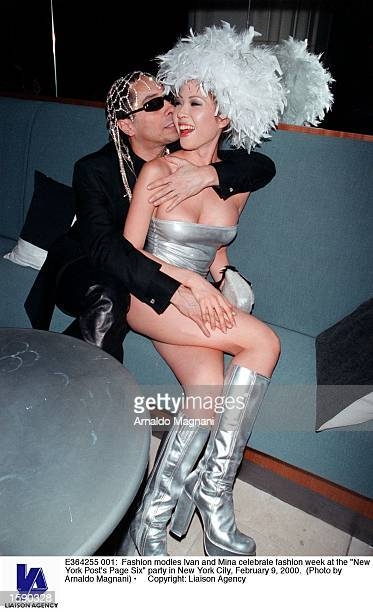 Fashion modles Ivan and Mina celebrate fashion week at the 'New York Post's Page Six' party in New York City February 9 2000