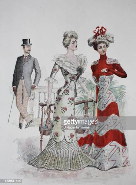 Fashion of Ladies and Gentlemen at Paris in the year 1899, digital improved reproduction of an woodprint from the year 1890.
