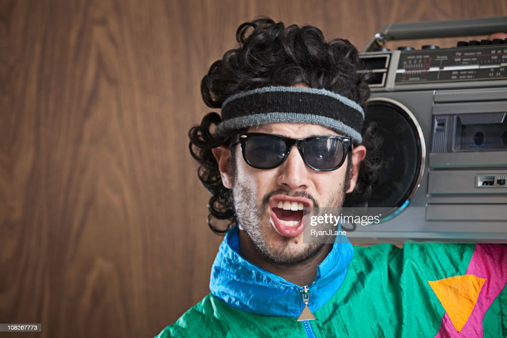 Fashion of the 1980's & 90's With Boombox : Stock Photo
