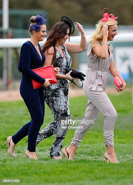 Fashion on Ladies Day at Aintree racecourse on April 04 2014 in Liverpool England