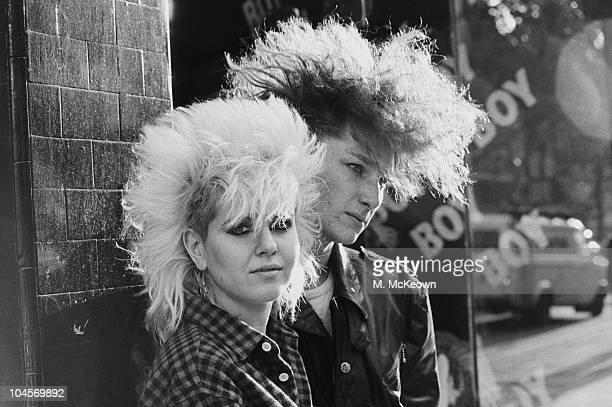Fashion on the King's Road Punks outside 'Boy' in Chelsea London in October 1983