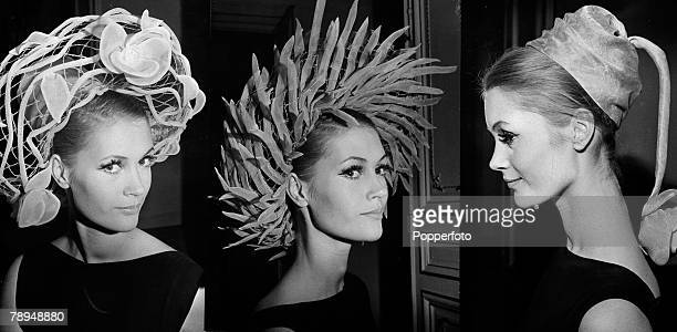 Fashion Paris France 26th January 1962 3 separate pictures of Paris hat fashions from designer Pierre Cardin