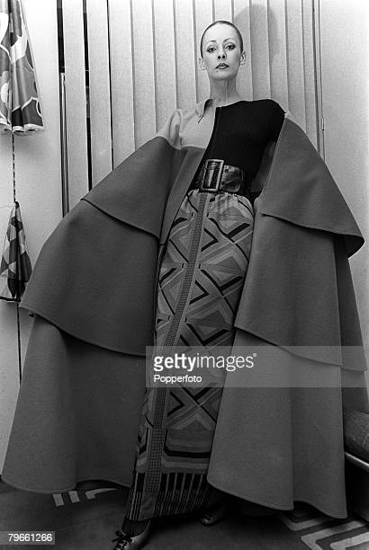 Fashion Paris France 27th January 1971 A model displays a four colour cape worn over a printed skirt by French designer Lanvin in Paris