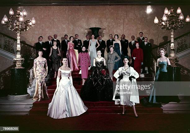 """Fashion, Personalities, pic: circa 1958, The twelve members of the Incorporated Society of London Fashion Designers the """" Big Twelve"""" line up with..."""