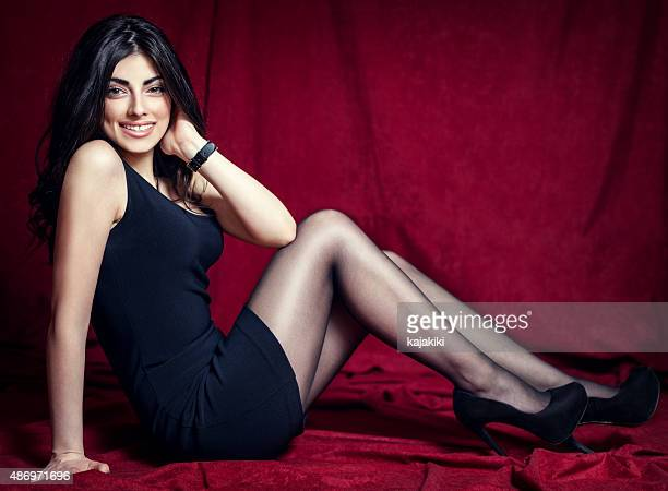 fashion photo of young beautiful woman - high heels short skirts stock photos and pictures