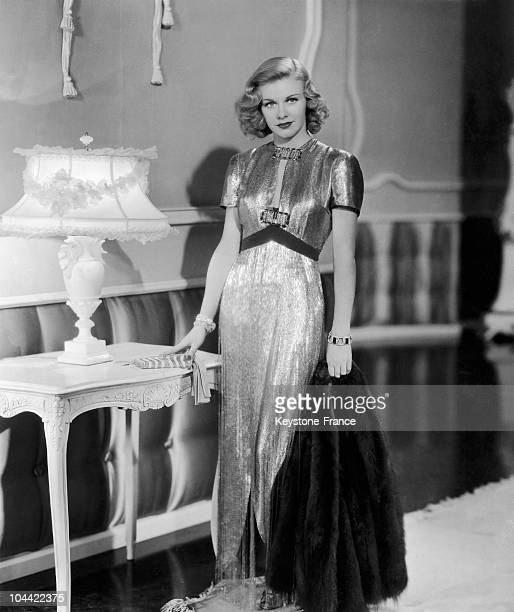 Fashion Photographer Presenting Ginger Rogers In A Sparkling Lame Dress In The 1930'S.