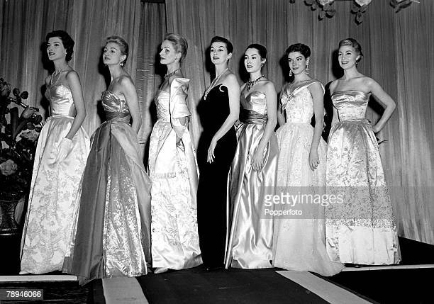 29th September 1954 Evening dresses from French designer Jacques Fath being modelled in London