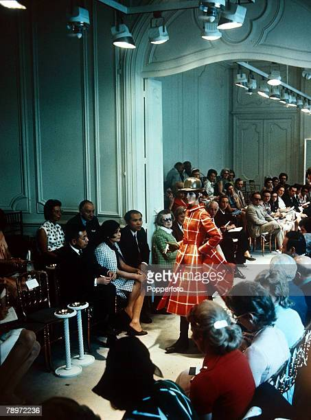 August 1970 A general view taken in the Paris fashion salon of designer Givenchy at a fashion show promoting his latest designs