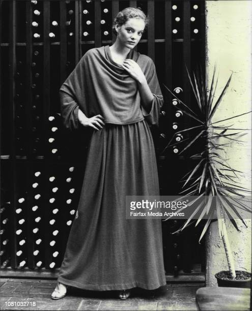 Fashion pics taken at The Cauldon restaurant today.Red wool angora in the sculptured Madame Gres tradition : top falls into soft cowls with draped...