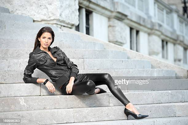fashion - black trousers stock photos and pictures