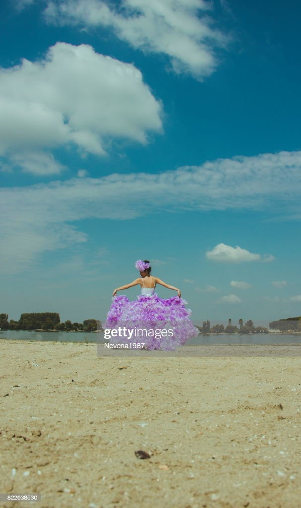 fashion picture of the bride on the beach : Stock Photo