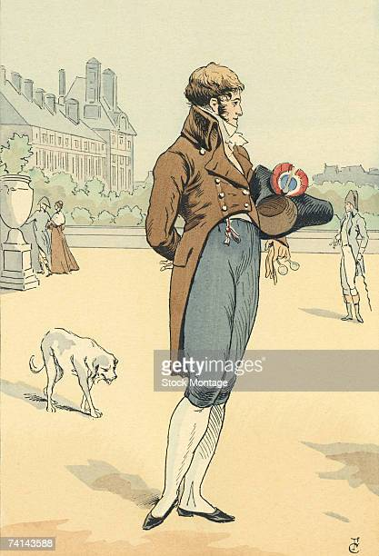 Fashion plate by French artist Francois Courboin entitled 'A Walk in the Tuileries Gardens A Dandy of the Year VIII' Paris France 1800